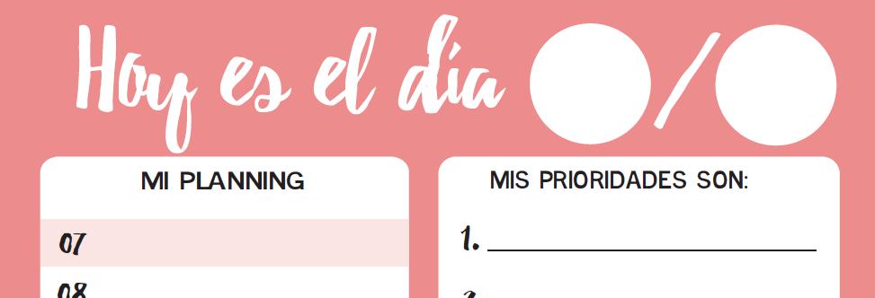 Imprimible: Planificador diario